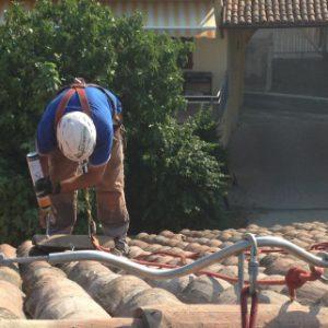 Installazione sistema anticaduta LV Linee Vita  lavorazione eseguita su fune